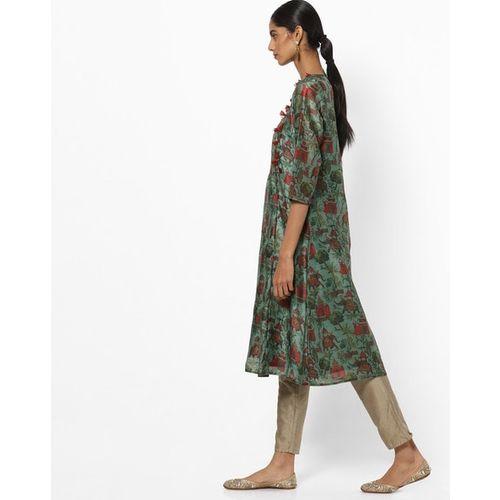 Melange by Lifestyle Women Green Printed A-Line Kurta