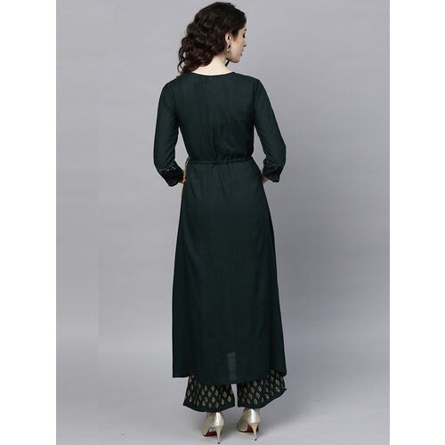 Ishin Women Green & Golden Printed Kurta with Palazzos