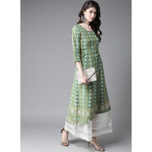 Moda Rapido Green & White Printed A-Line Kurta