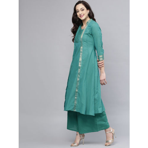 Bhama Couture Women Green Solid Kurta with Palazzos