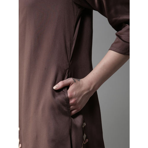 Moda Rapido Women Pink & Brown Solid Straight Kurta with Ethnic Jacket