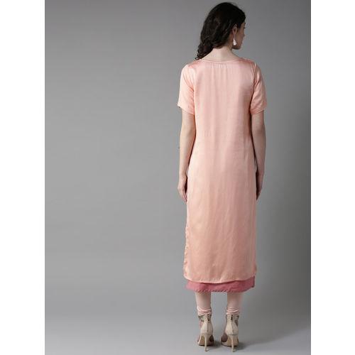 Moda Rapido Women Pink & Golden Printed Layered Straight Kurta