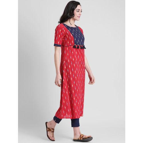 Azira Women Red & Blue Printed A-Line Kurta