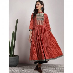 Sangria Red Cotton Printed Mandarin Collar Anarkali Kurta