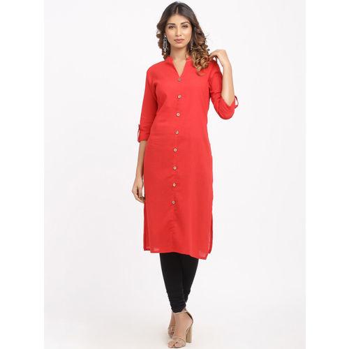 SOUNDARYA Women Red Solid Straight Kurta