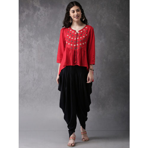 Anouk Women Red & Black Embroidered Kurti with Patiala