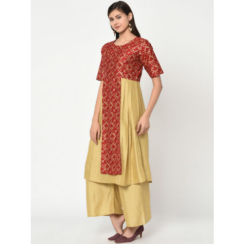 ZIYAA Women Red & Gold-Toned Printed A-Line Layered Kurta