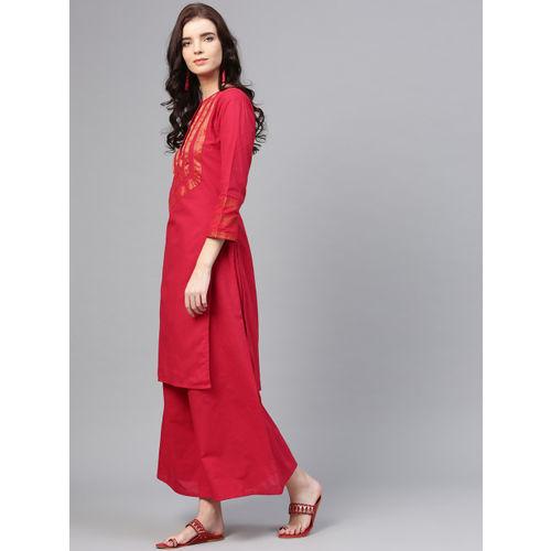 Bhama Couture Women Red & Golden Yoke Design Kurta with Palazzos
