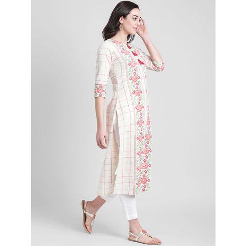 Azira Women Off-White & Pink Checked Straight Kurta