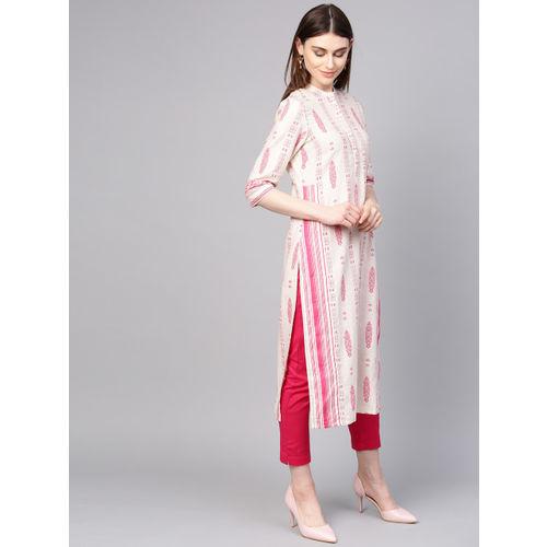 W Women Off-White & Pink Printed Straight Kurta