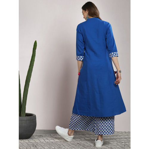 Sangria Blue Cotton Solid Kurta with Palazzos