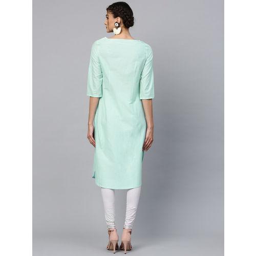 W Women Blue & Grey Printed Straight Kurta