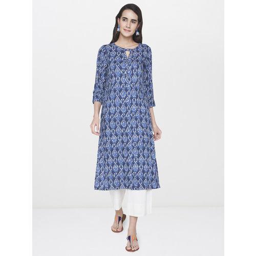 Global Desi Women Blue Printed Straight Kurta