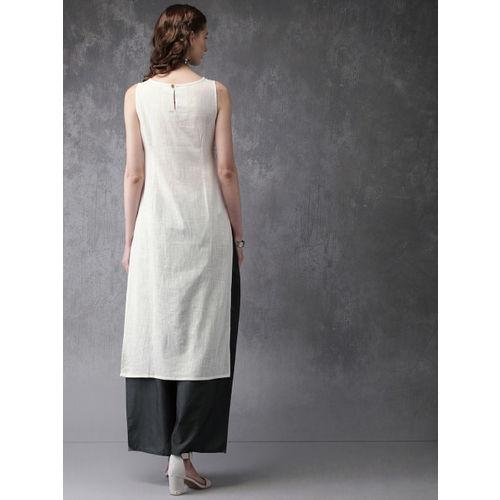 Anouk Women Off-White & Grey Printed Kurta with Palazzos