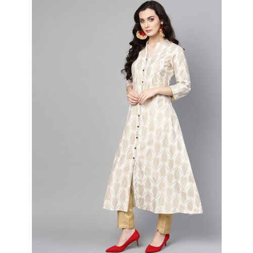 Varanga Women Off-White & Golden Printed A-Line Kurta