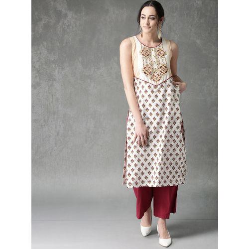 Anouk Women Off-White & Maroon Printed Straight Kurta