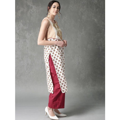 Anouk Women Off-White & Maroon Printed Straight Kurta