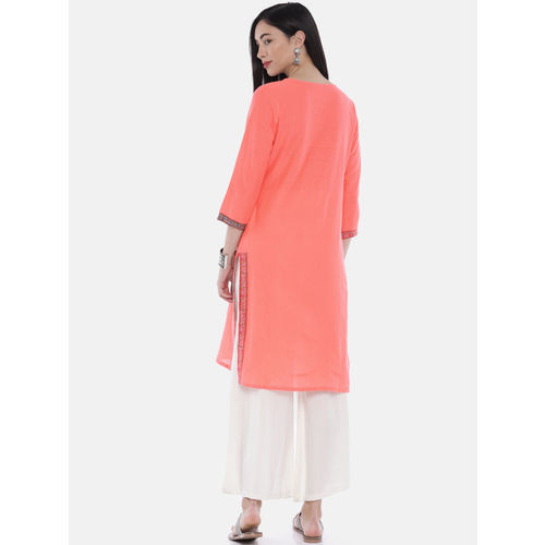Melange by Lifestyle Women Coral Orange Yoke Design Straight Kurta