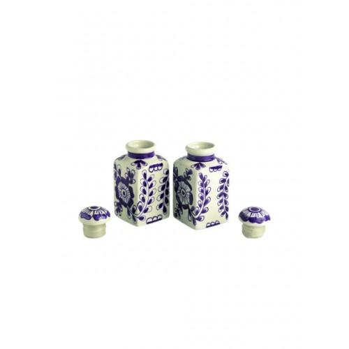 ExclusiveLane Cream Coloured & Blue Handcrafted Storage Jars