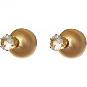 Aaishwarya Stylish Golden Double Crystal Alloy Stud Earring