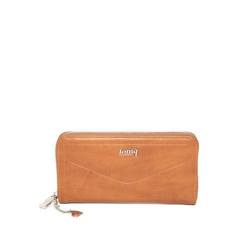 ToniQ Women Brown Solid Zip Around Wallet
