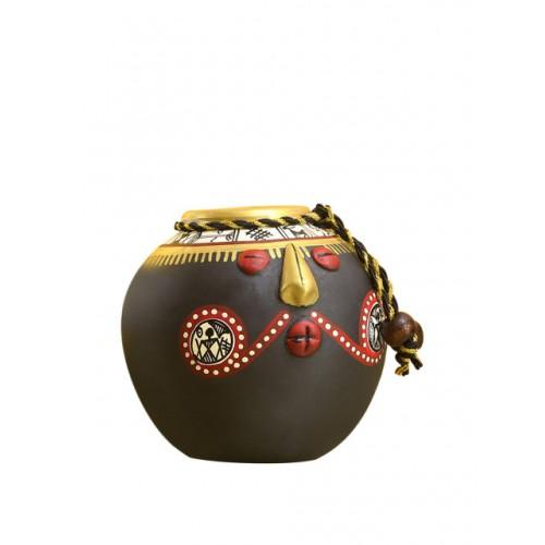 ExclusiveLane Set of 2 Brown Hand-Painted Terracotta Pot Face Showpieces