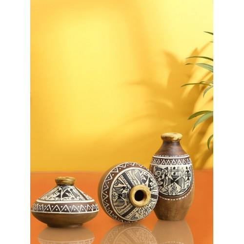 ExclusiveLane Set of 3 Brown Warli Hand-Painted Terracotta Pot Showpieces
