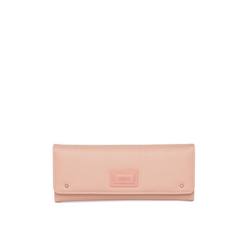 CERIZ Women Pink Solid Three Fold Wallet