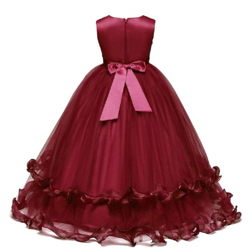 THE LONDON STORE Maroon Applique Lace Ball Gowns