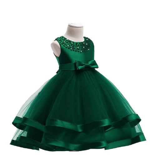 THE LONDON STORE Green Organza Embroidered Princess Frocks