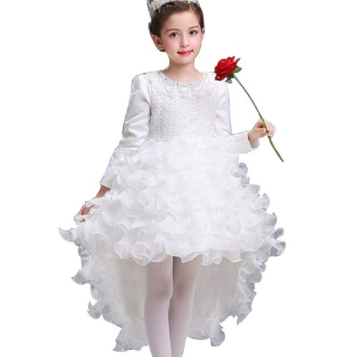 THE LONDON STORE White Toddler Kids Long Sleeve Party Prom Trail Layered Dress