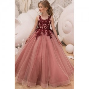 THE LONDON STORE Pink Long Winter Flower Tulle Ball Gown