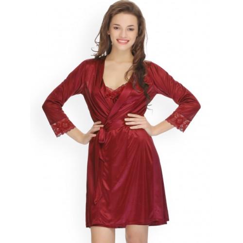 Clovia Maroon Nightdress with Robe NS0286P09S