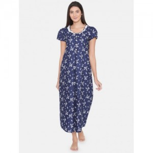 Clovia Women Navy Blue Printed Maternity Nightdress NS0930P08XL ed16e5cc1