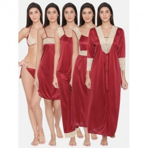 Clovia Maroon Solid Set of 7 Nightdress NS0564P09