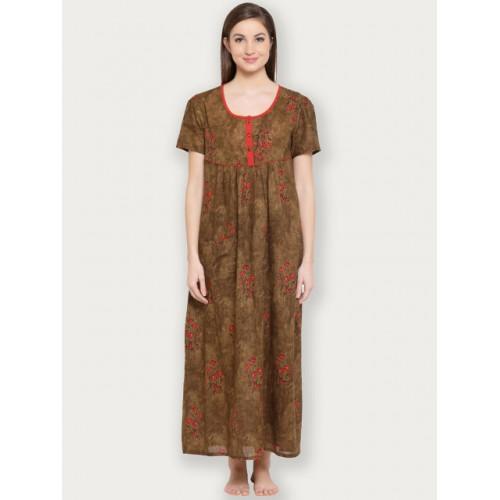 Clovia Brown Printed Nightdress NS1119P06XL