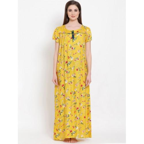 Clovia Yellow Printed Nightdress NS1162P02XL