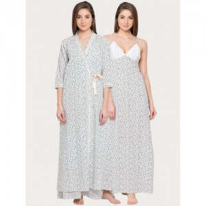 Clovia White Printed Nightdress With Robe NS0979P11XL