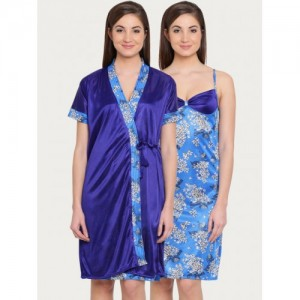 Buy Claura Purple Lace Satin Nightdress with Robe ST-20 online ... 09ddc387a