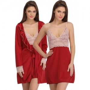 Clovia Maroon & Pink Satin Baby-Doll Nightdress with Robe NS0799P09