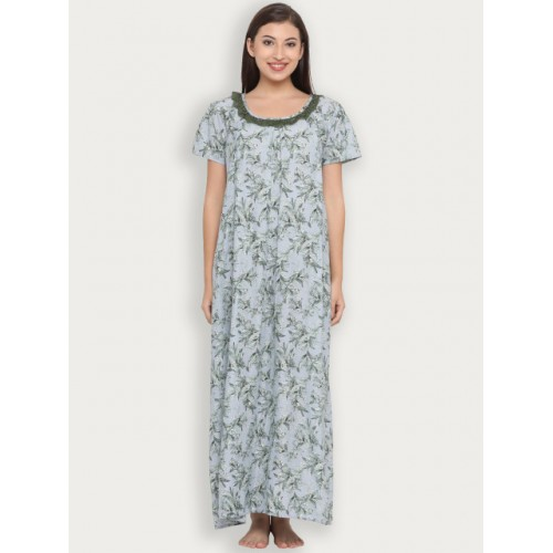 Clovia Blue Printed Nightdress NS1118P03XL