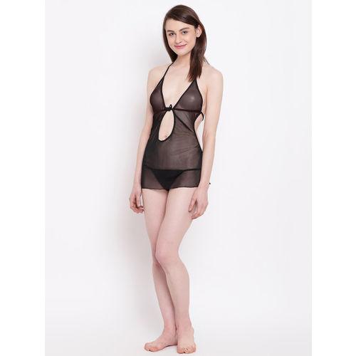 N-Gal Erotic Deep Halter Keyhole Neck Chemise Dress Nightwear with G-String (NBABY03-BD)