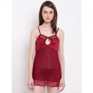 7ecc832082 N-Gal Spaghetti Strap Keyhole Neck Maroon Bridal Babydoll Dress Nightwear  with G-String