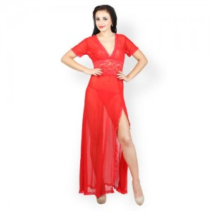 N-Gal Red Solid Nightdress