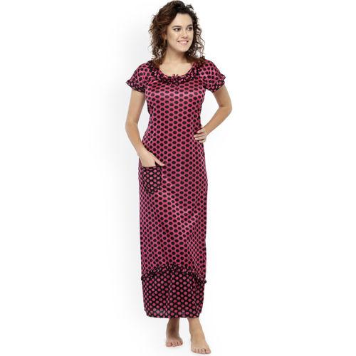 N-Gal Pink & Black Printed Nightdress NSR03