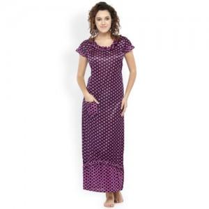N-Gal Black & Purple Polka Dot Print Maxi Nightdress NSR17