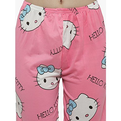 N-Gal Women's Short Sleeves Cute Hello Kitty Cotton Pattern Top Capri Set (Pink, Free Size)