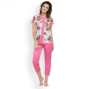 N-Gal Women Printed Pink Top & Pyjama Set