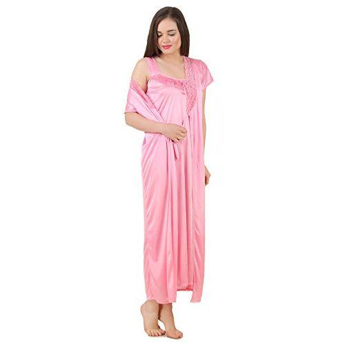 Fasense Women Satin Nightwear Sleepwear 2 PCs Set of Nighty & Wrap Gown GT004 Purple