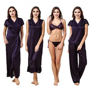 Fasense Satin Nightwear 6 Pc Set of Nighty, Wrap Gown, Top, Pajama, Bra & Thong ED001